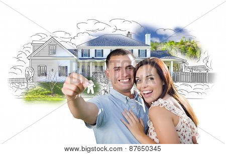 Military Couple with Keys Over House Drawing and Photo Combination on White.