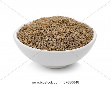 Caraway Thai Herbs Spices In The Bowl On A White Background