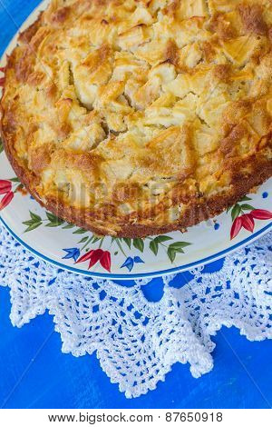 freshly baked apple pie in natural background