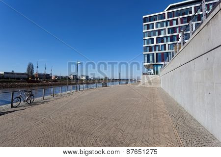 Waterfront Promenade In Bremen