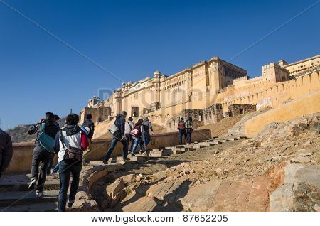 Jaipur, India - December 29, 2014: Tourist Visit Amber Fort Near Jaipur, Rajasthan, India