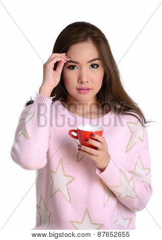 Pretty Girl With Red Coffee Cup.