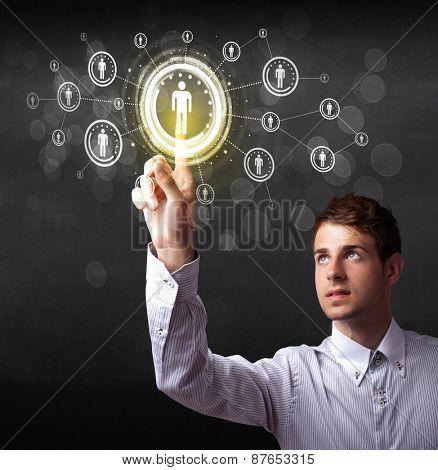 Modern man touching future technology social network button