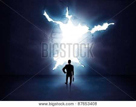 Silhouette of businessman standing in air gap
