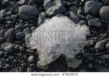 Melting ice block seen on the beach of the Jokullsarlon glacier lagoon in Iceland. The melting glacier ice is an important water source for earth coming from the ice age millions of years ago.