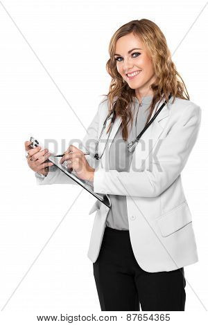 Female Doctor Holding A Clipboard - Isolated