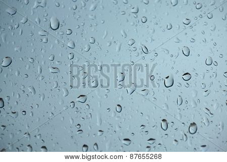 Raindrops on glass. Bad weather.