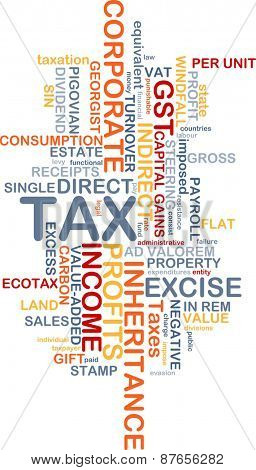 Background text pattern concept wordcloud illustration of tax