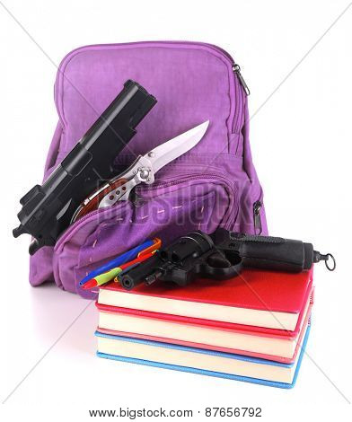 Gun in school backpack, isolated on white
