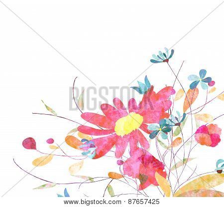 Colorful Pink Flowers, Watercolor