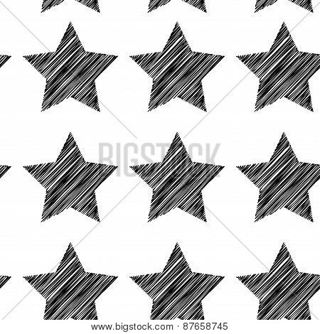 Sketch seamless pattern with stars. Black stars on white background. Vector
