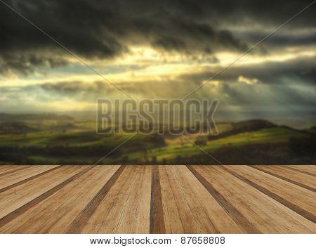 Sunbeams Over Big Moor In Peak District National Park In Autumn With Wooden Planks Floor