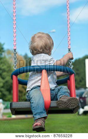 Cute baby boy watching back on swing