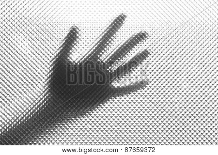 Silhouette of hand, close up