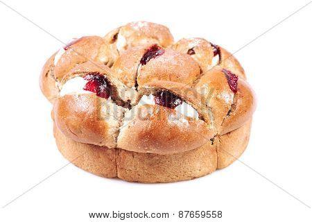 Raspberry jam and cream pastry