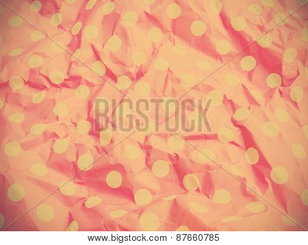 Pink Wrinkled Paper With Polka Dot Pattern