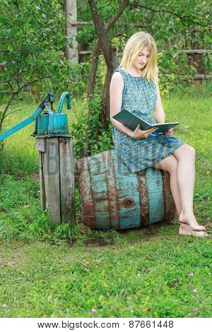 Barefoot Student Girl In Blue Silk Feminine Dress Reading Book