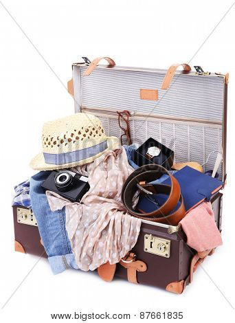 Packing suitcase for trip isolated white