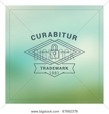 Hipster Vintage Label, Logotype, Badge For Your Business. Thin Line Design Template On Blurred Backg