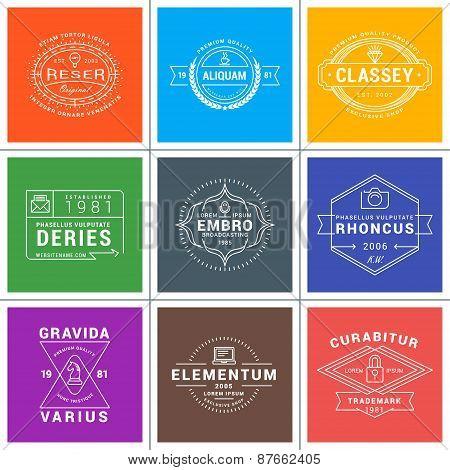 Set Of Hipster Vintage Labels, Logotypes, Badges For Your Business. Thin Line Design Template