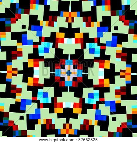 Abstract geometric kaleidoscope pattern. Creative pixel style background. Digital mosaic design.