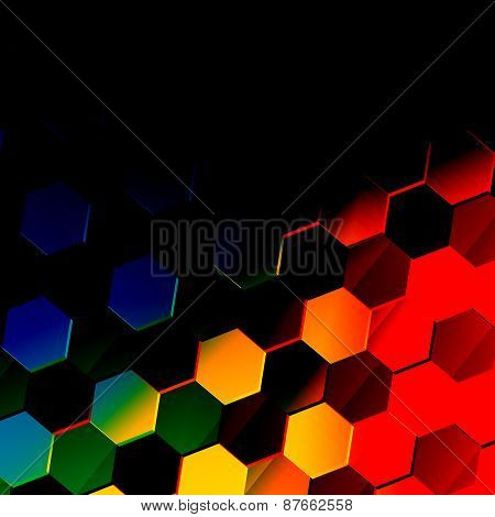 Dark colorful hexagonal background. Unique abstract hexagon pattern. Flat modern illustration.