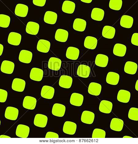 Green black checkered pattern. Round squares texture. Abstract elements. High contrast shapes.