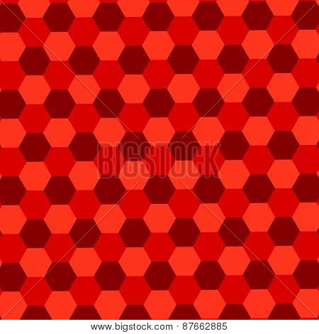 Red hexagons background. Abstract geometric pattern. Mosaic tile wallpaper. Endless floor tiles.