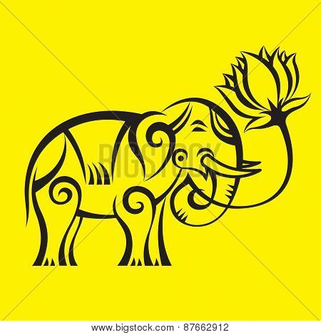 Elephant with a Lotus - creative vector logo illustration