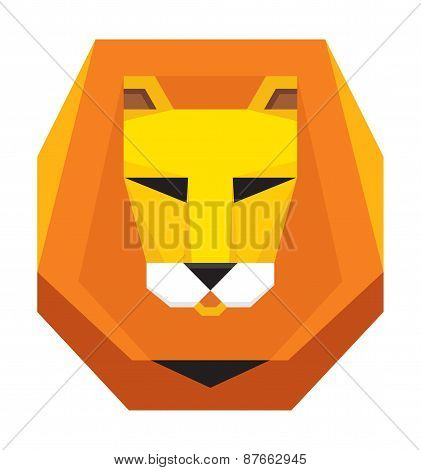Lion Head - original vector sign. Vector logo template.