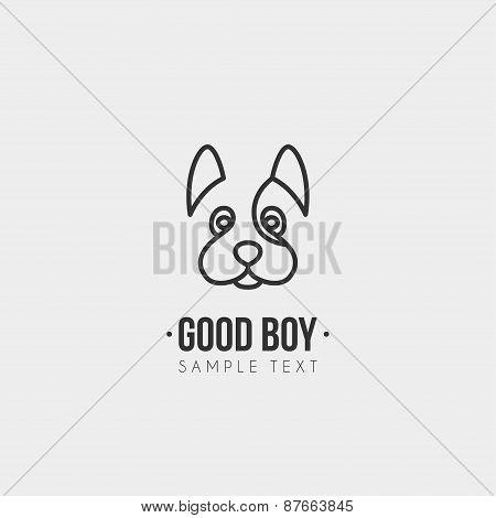 Thin Line Design Template Logotype. Cute Dog