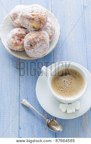 Coffee Cup Milk Sweet Dessert Donuts Icing Sugar