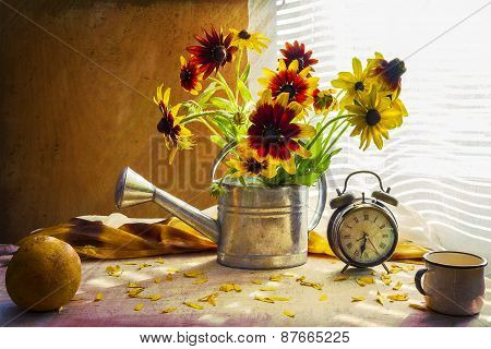 Still Life With Bouquet Yellow Rudbeckia Watering Can Clock