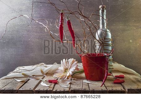 Still Life With Tree Red Peppers