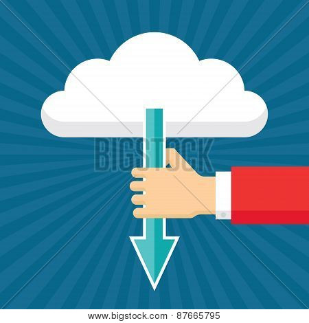 Human Hand with Arrow and Cloud. Vector concept illustration in flat design style. Download concept.