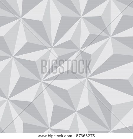 Abstract Seamless Background with Relief Triangles in grayscale color