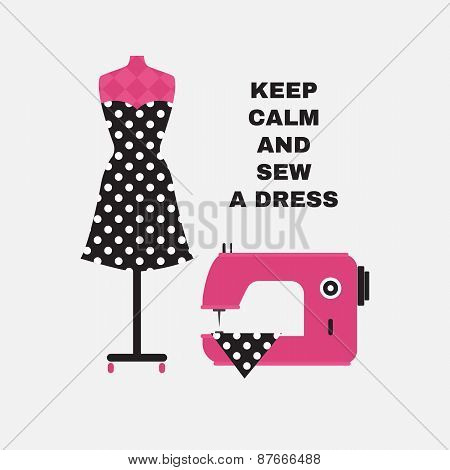 Poster. Greeting Card With Sewing Accessories. Flat Illustration.