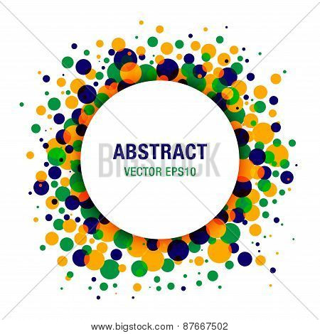 Bright  Abstract Circle Frame Design Element using Brazil flag colors