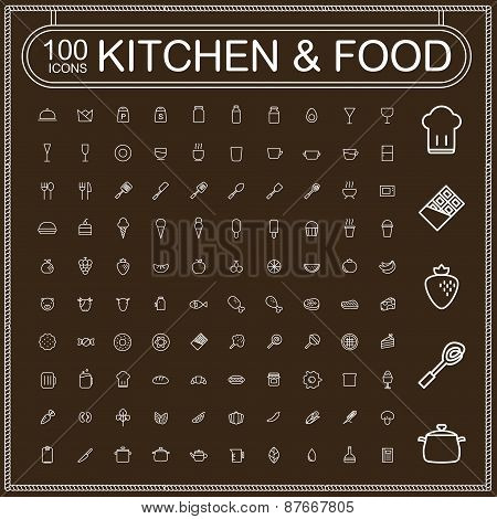 Adorable Food And Kitchenware Icons Set