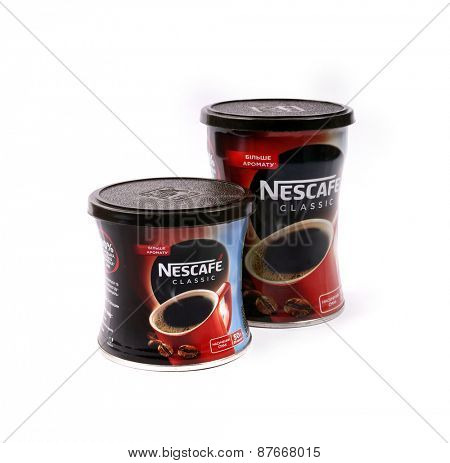 Kiev, Ukraine - April 10, 2015: Nescafe is a brand multinational food and beverage company, first introduced on April 1, 1938.