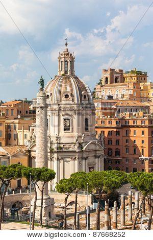 Santa Maria Di Loreto Church And Trajan's Column