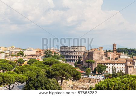 Rome Cityscape With Skylines Of The Ancient Ruins