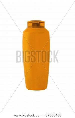 Orange Shampoo Bottle Isolated On White