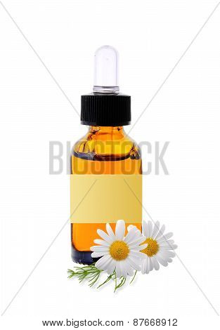 Bottle With Essence Oil And Chamomile Flowers Isolated On White