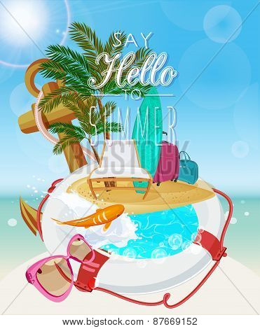 Summer holidays illustration with beach items
