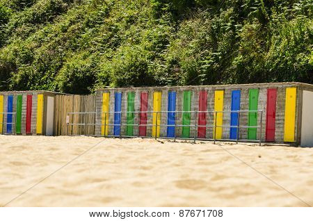 Colorful Beach Huts In A Row - Horizontal