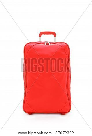 Red Travel Bag Isolated On White