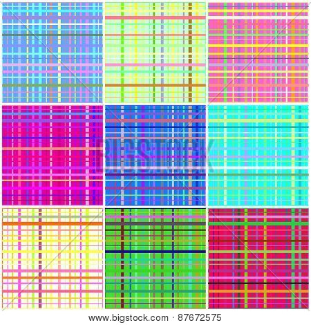 Seamless Pattern Reminded Scottish Fabric.a Set Of Nine Illustrations