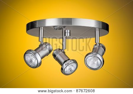 Ceiling Light Fixture Isolated On Yellow Background