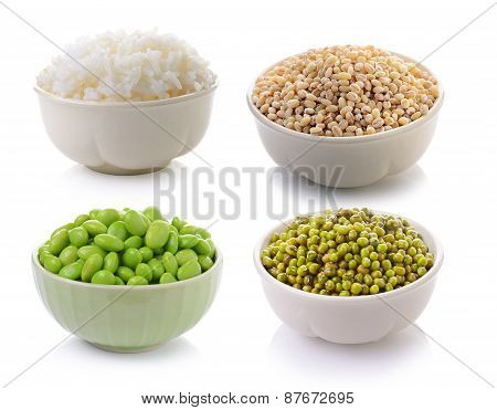 Soy Beans , Rice, Job's Tear Seed, Green Mung Beans In A Bowl On A White Background